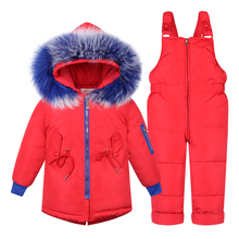 2019 New Russian Winter Children Clothing Sets Girls Warm Duck Down Feather Jacket for Baby Girl Clothes Snow Wear Kids Suit все цены