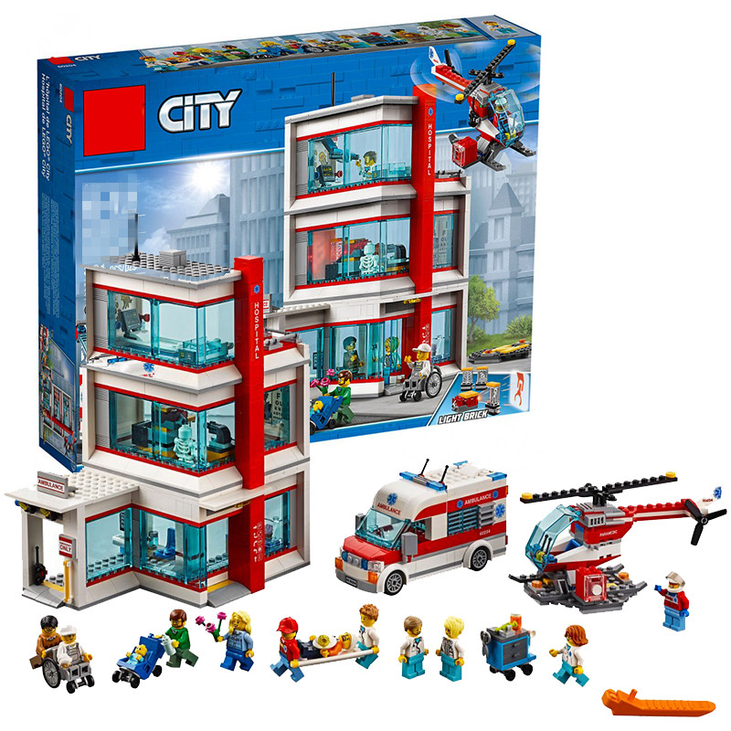 2018 New model Building Kits 02113 943Pcs City Hospital Sets Compatible legoinglys 60204 Blocks Bricks DIY Boy Toys Gift