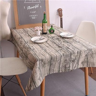 60X60/ 90X90CM/ 100x140 /140X140CM Wood Grain Linen Table Cloth Cover  Dining Pastoral Tablecloth