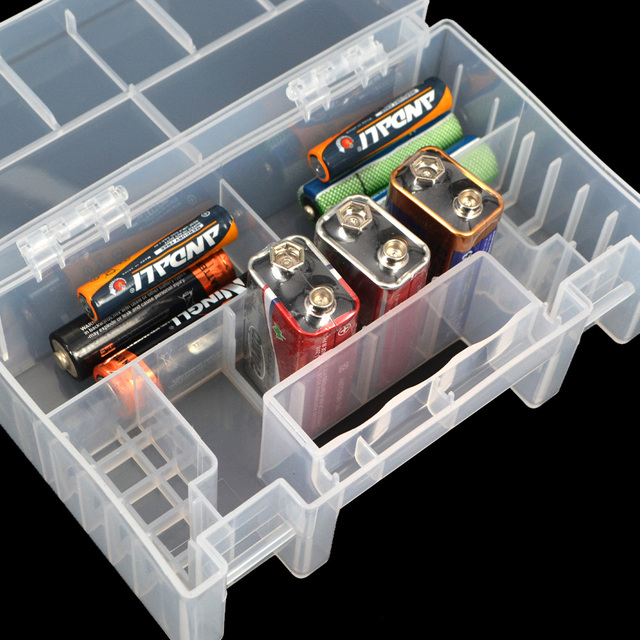 Plastic Battery Storage Box Case Portable Hard Large Holder Container For  AA AAA Battery 15 X