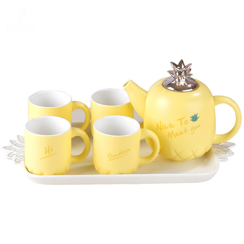 Concise Ceramics Infusion Of Tea Kettle Suit Coloured Glaze European White Porcelain Tea Tray Concise Lovely Yi Qingxi Tea Set - 2