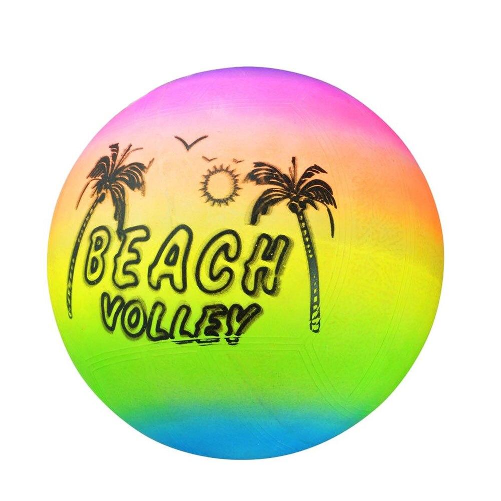 Noverty Summer Beach Ball Inflatable Pool Swim Rubber Rainbow Beach Volleyball Garden Game Net Kids Toy