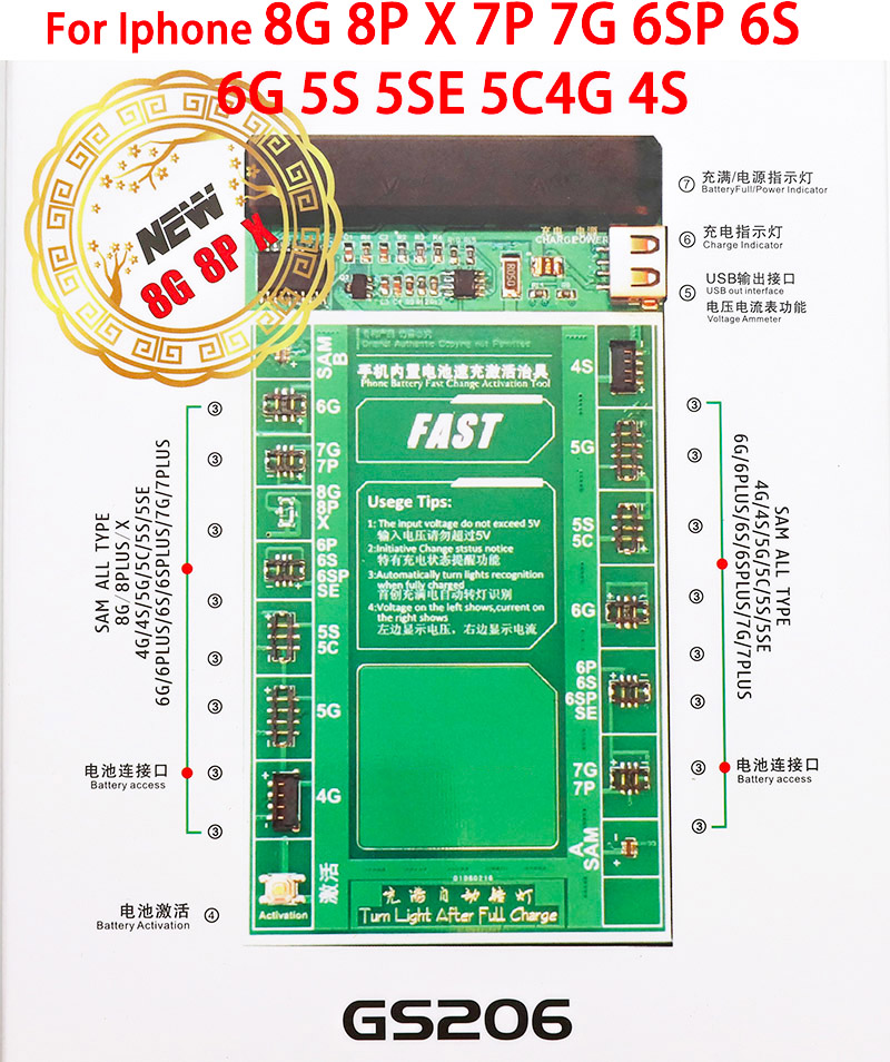 Oityn Battery Activation Charge PCB Board with USB Cable for iPhone 8G 8P X 7G 7 plus 6S 6SP 6G 6P SE 5G 5S 4G 4S Circuit Test