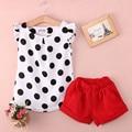 Ropa del bebé de La Muchacha Del Cabrito Del Niño Polka Dot Camiseta Tops Rosa Pantalones Cortos 1 Unidades