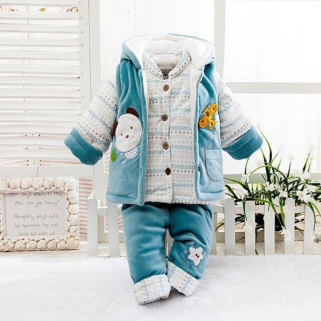 Новый 2016 Новорожденных Мальчиков и Девочек Комплект Одежды зимней Одежды Для Новорожденных Мягкие Трико 3 Шт. Набор Теплый верхняя одежда