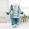 Novo 2016 Bebê Recém-nascido Meninos e Meninas Roupas Definir O Roupas de inverno Para Infantil Acolchoado Bodysuits 3 Pcs Set Quente Outerwear