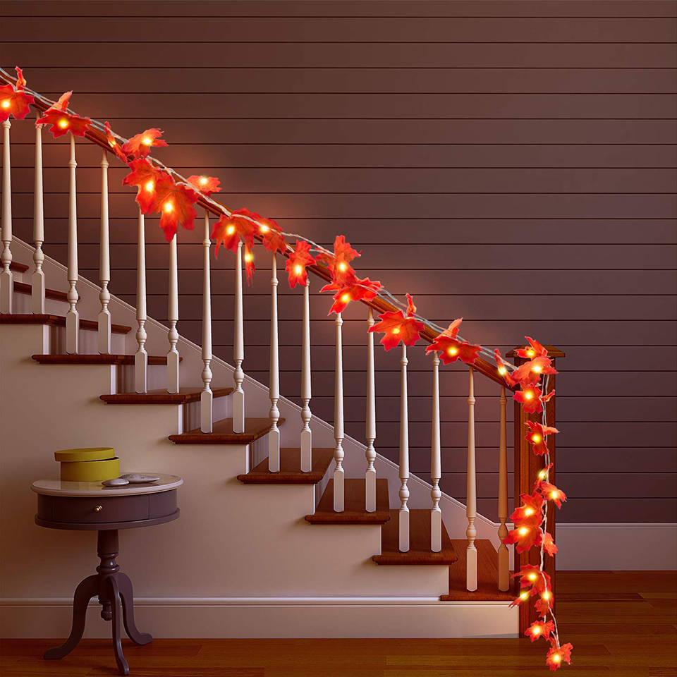 Xsky Maple Leaves LED String Lights 1.5M 2M 3M Autumn Stair Railing Decoration Plants Fence Party Holiday Lighting Battery Power