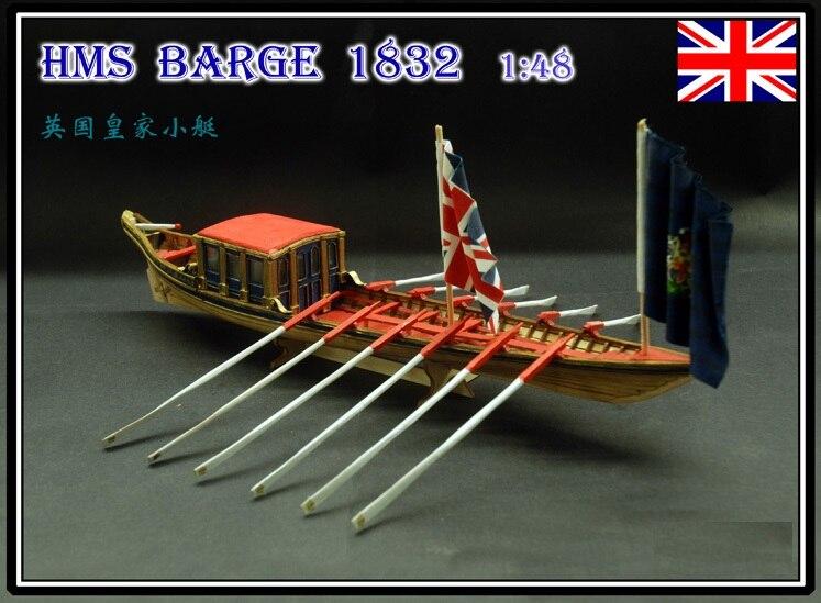 HMS Barge 1832 ship wooden model kits scale 1 48 British Royal boat model