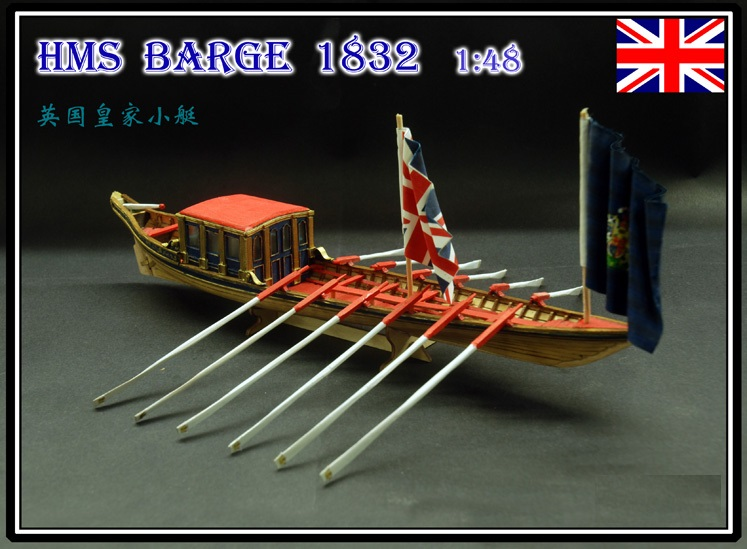 HMS Barge 1832 ship wooden model kits scale 1/48 British Royal boat model-in Model Building Kits from Toys & Hobbies    1