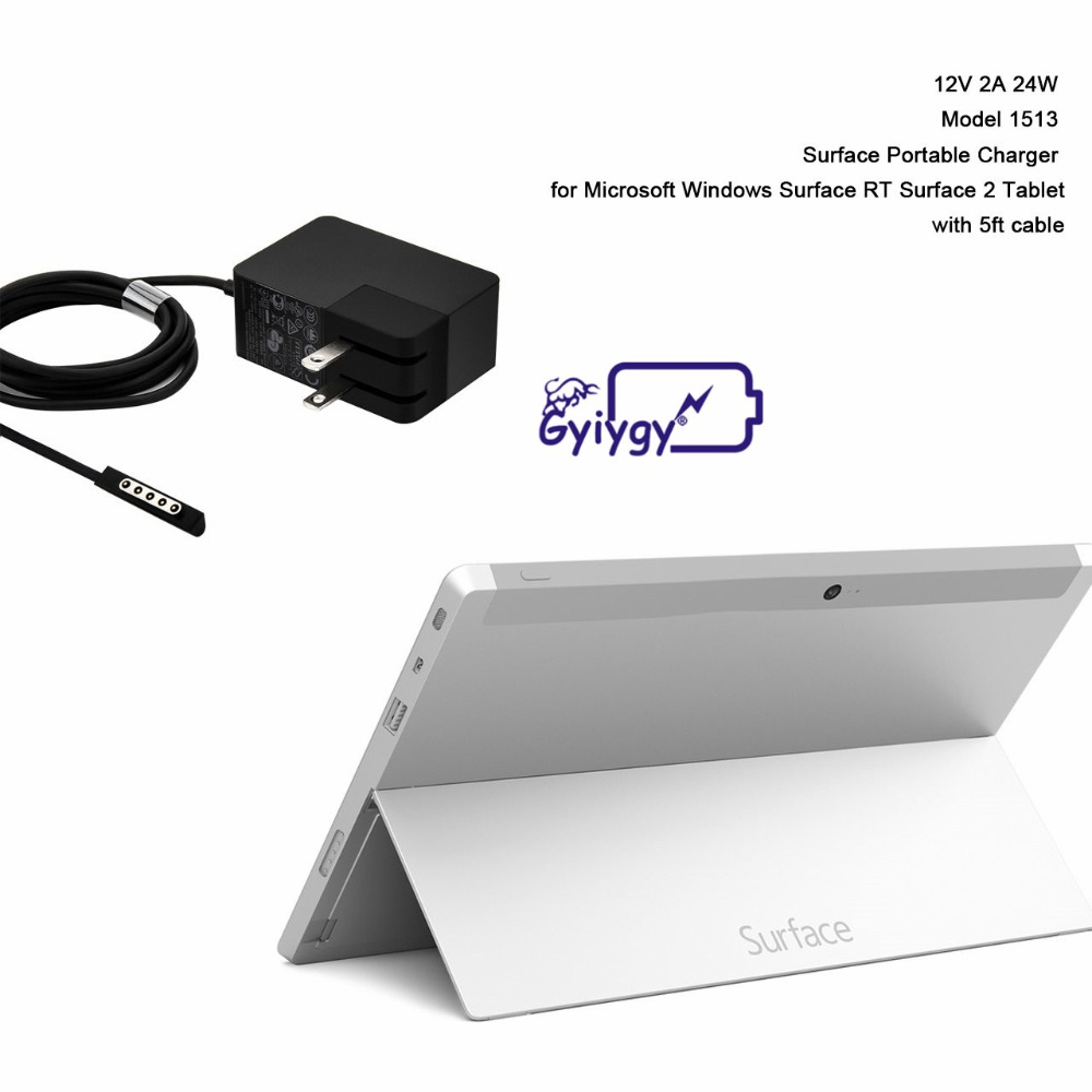 Power Supply Adapter for Microsoft Surface RT Charger 24W 12V 2A Surface 2 Surface Pro 1 Pro 2 Tablet Include US Plug with 5ft Cable Model 1513 5