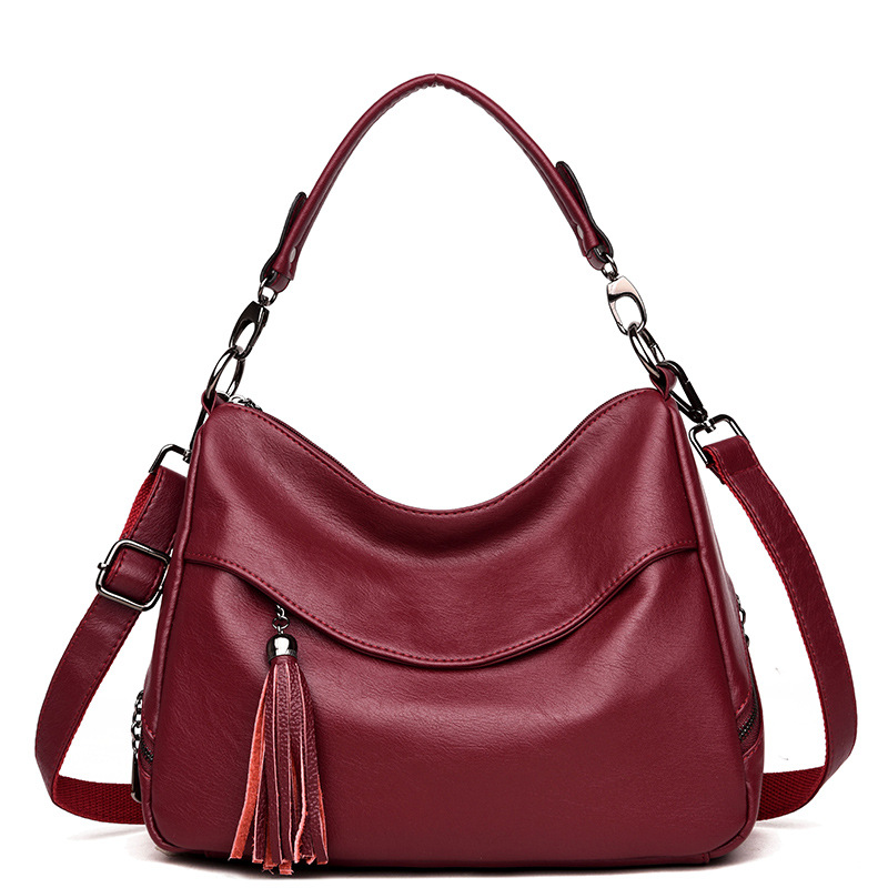 Fashion Woman Leather Handbags Tote Shoulder Bag Tassel Bag Women Bag Luxury Famous Brand Ladies Messenger Bag Sac A Main Bolsos qiwang china brand handmade leather bag luxury handbags famous brand tassel women bags made in china flower tote bag purse