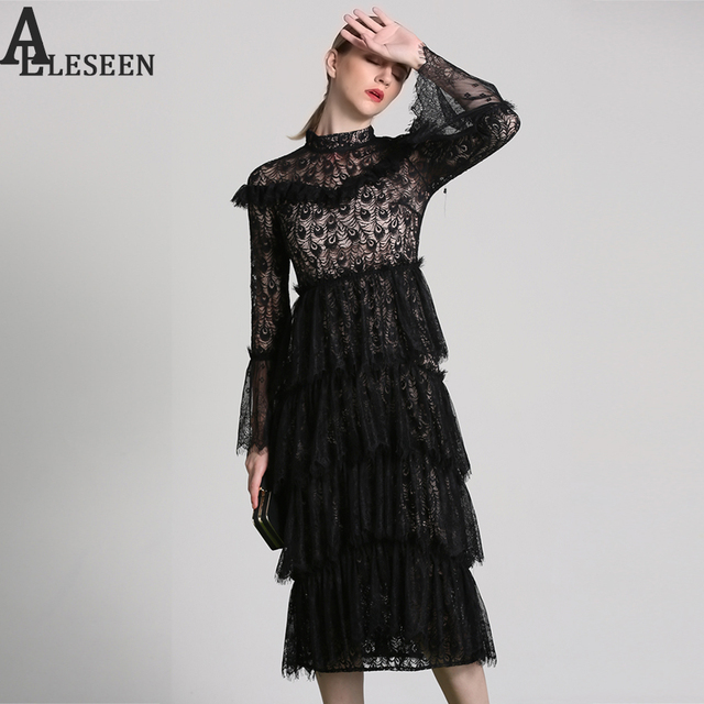 Designer Lace Dress 2018 New Full Pea Feather Flare Sleeve Cascading Ruffles Turtleneck Layers Embroidery Black