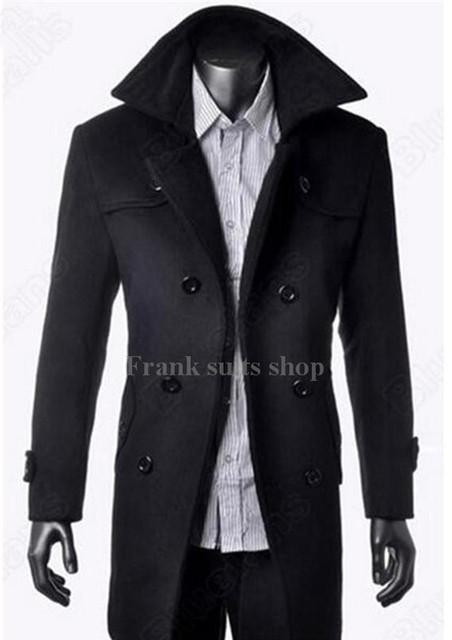 Por encargo 2017 Negro ocasional larga sección de la stand-up collar hombres chaqueta rompevientos abrigo de lana espesada
