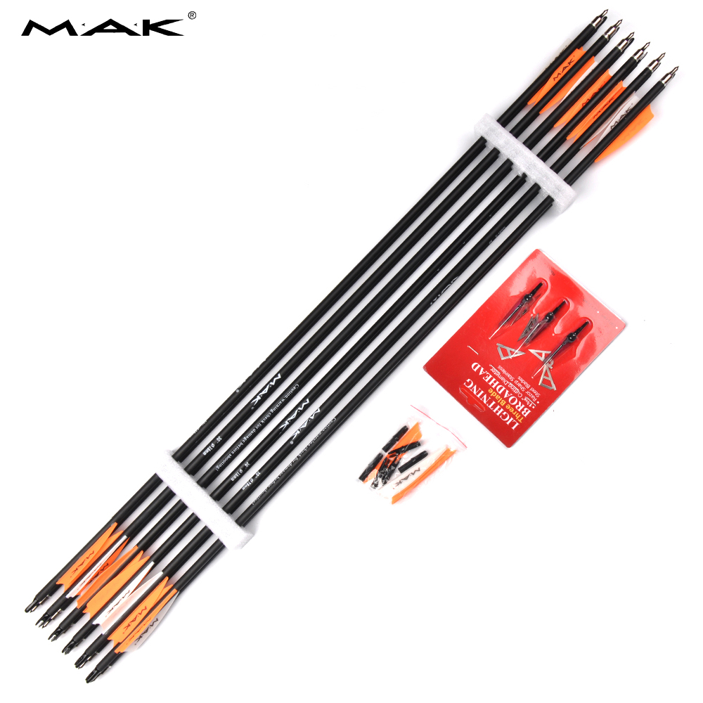 12pcs Pure Carbon Arrow 30 Inches Spine 500 Outer Diameter 7.8mm Spine 500-600 for Compound/Recurve Bow Archery Hunting Shootin wholesale archery equipment hunting carbon arrow 31 400 spine for takedown bow targeting 50pcs