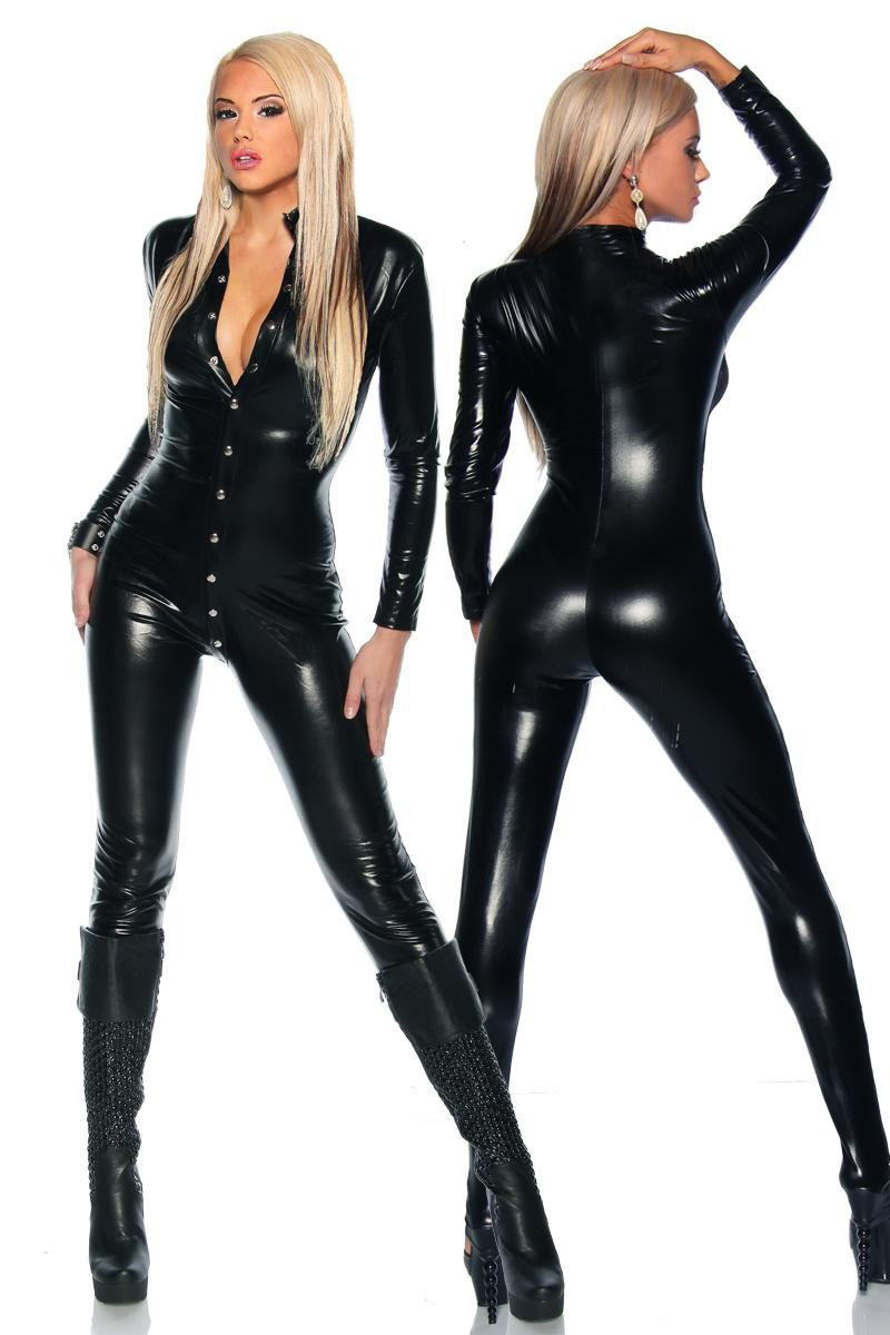Buy 2017 Hot Selling Sexy Latex Catsuit Sexy Women Black PVC Leather Jumpsuit Latex Wetlook Bodysuit Fetish Dance Clubwear Costume