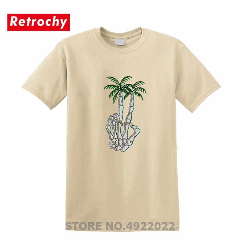 Горячая Распродажа Творческий Мужская футболка Peace palm Tree Футболка Мода hipster скелет руки футболка Лето Забавный slim fit Топ с круглым вырезом tee