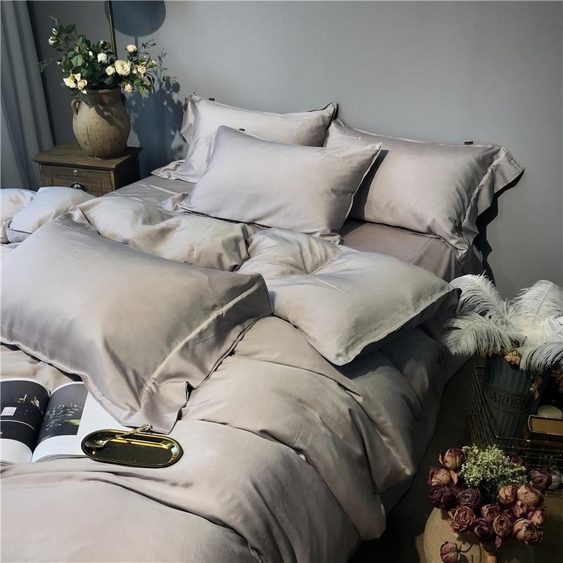 Image 4 - Gray Silver Tencel Silk Soft Bedding set Queen King size Bed set bed sheet Duvet cover Fitted sheet parure de lit ropa de camaBedding Sets   -