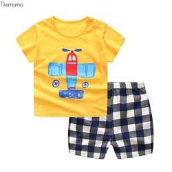Брендовые хлопковые комплекты для малышей, спортивные комплекты для отдыха для мальчиков, футболка + шорты, одежда для малышей, одежда для