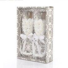 2 шт. набор свадебных стеклянных модных тостов Свадебные бокалы es хрустальные бокалы для шампанского для жениха и невесты бокалы для питья вина для L