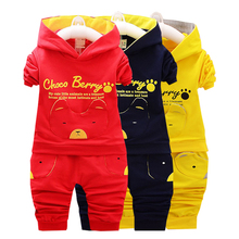 цена на 2016 new autumn fashion baby cartoon clothing sets hooded jacket + trousers suit for infant chilren boys girls pullover clothes