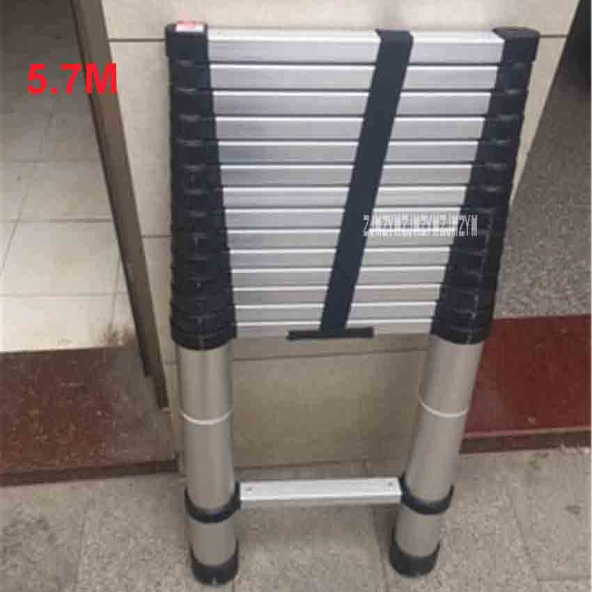 New DLT-A Aluminum Alloy Thickened 5.7 Meters Extension Ladder 15-step Single-sided Straight Ladder Folding Engineering Ladder