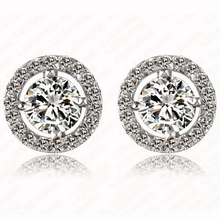 hot deal buy pinifrst stud earrings for women white gold plated cz diamond jewelry aaa zircon round boucle