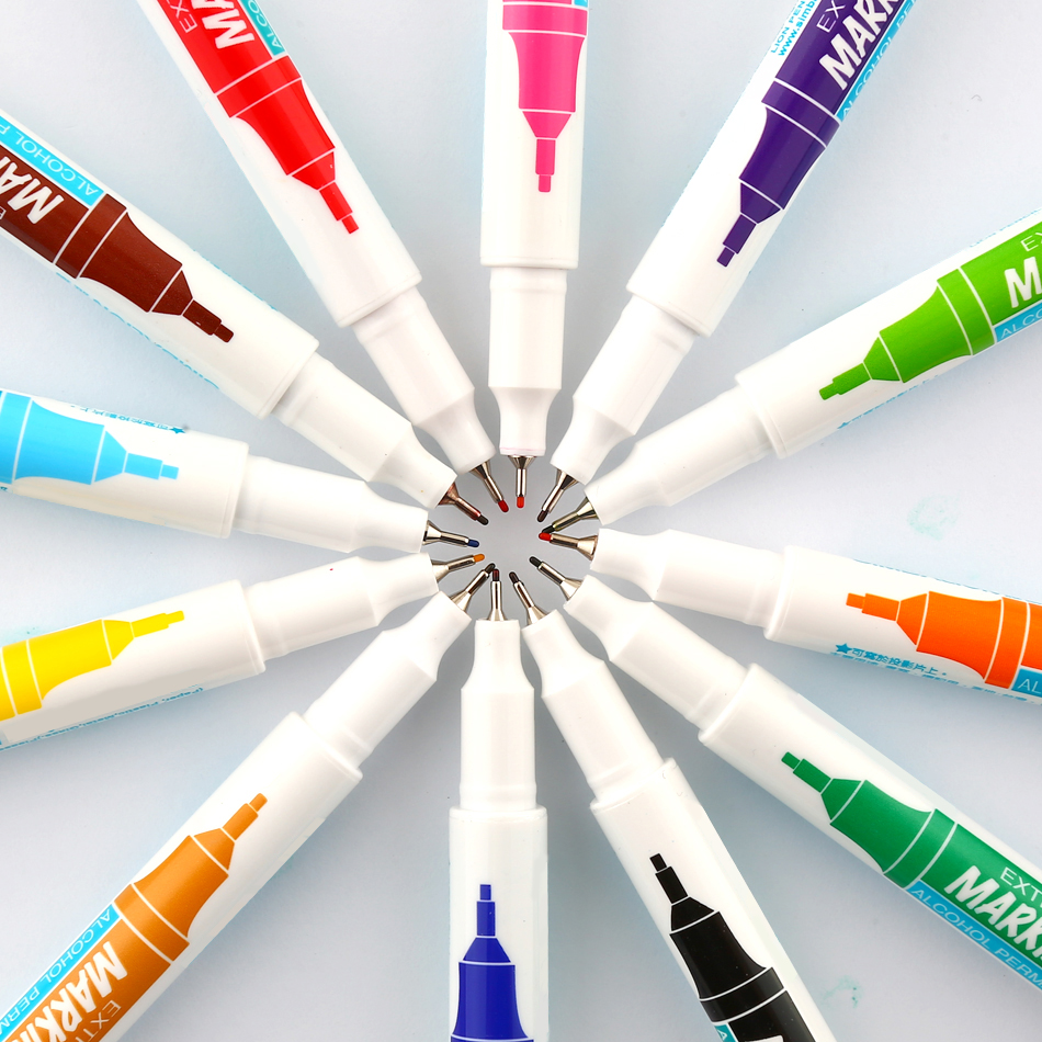 0,5 mm 12 Warna Fine Marker Pen Alkohol Basis Tinta Permanen Mark Pada Film / Kayu / Kain / Logam / Kaca