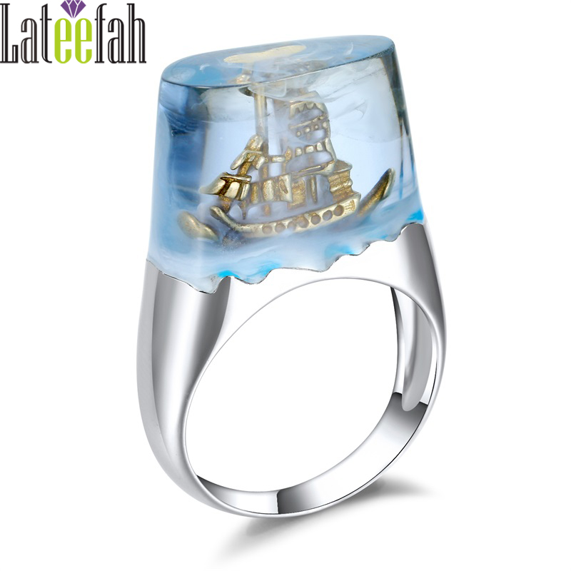 Lateefah מפרשית מיניאטורות שרף טבעות לנשים Anillos טבעת צבע כסף מפרשית מיניאטורות זהב שרף שקופה Mujer