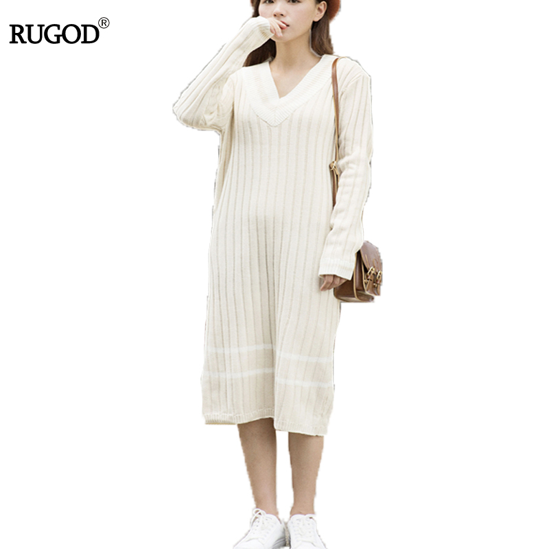 Rugod 2018 New Winter Sweater Women long Pullover Knitted Jumper v-Neck Long Sleeve Cashmere Sweater solid christmas sweater