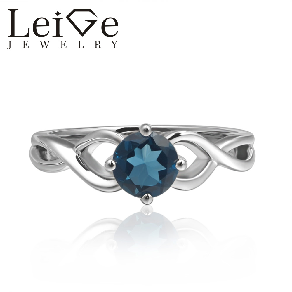 Leige Jewelry Round Cut Solitaire London Blue Topaz Rings Wedding Rings for Women Sterling Silver 925 Blue Gemstone vera blue london