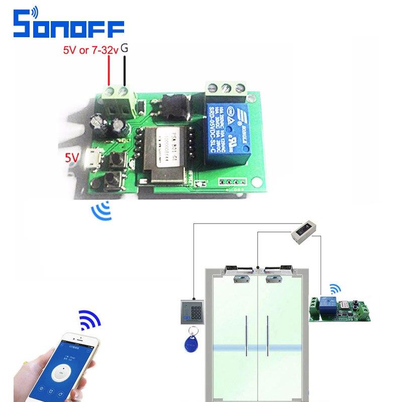 Sonoff wifi schalter drahtlose Relais modul Smart home Automation für Computer zugang dc5V/12 v 24 v 32 v tipp/Self-Locking IOS