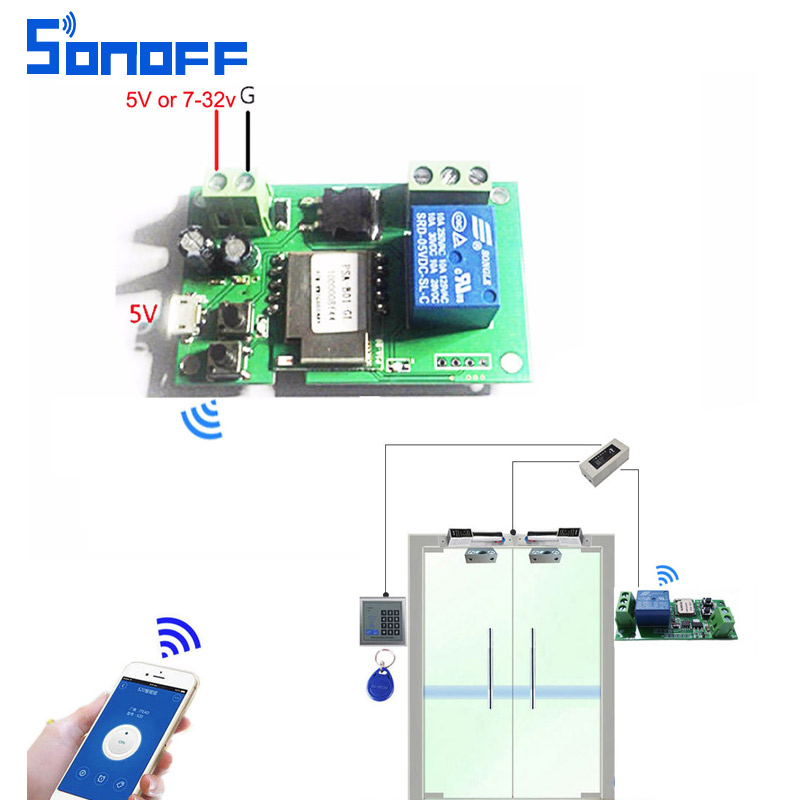 sonoff wifi switch wireless relay modul Smart home automation untuk akses komputer dc5v / 12v 24v 32v inpling / self-locking IOS