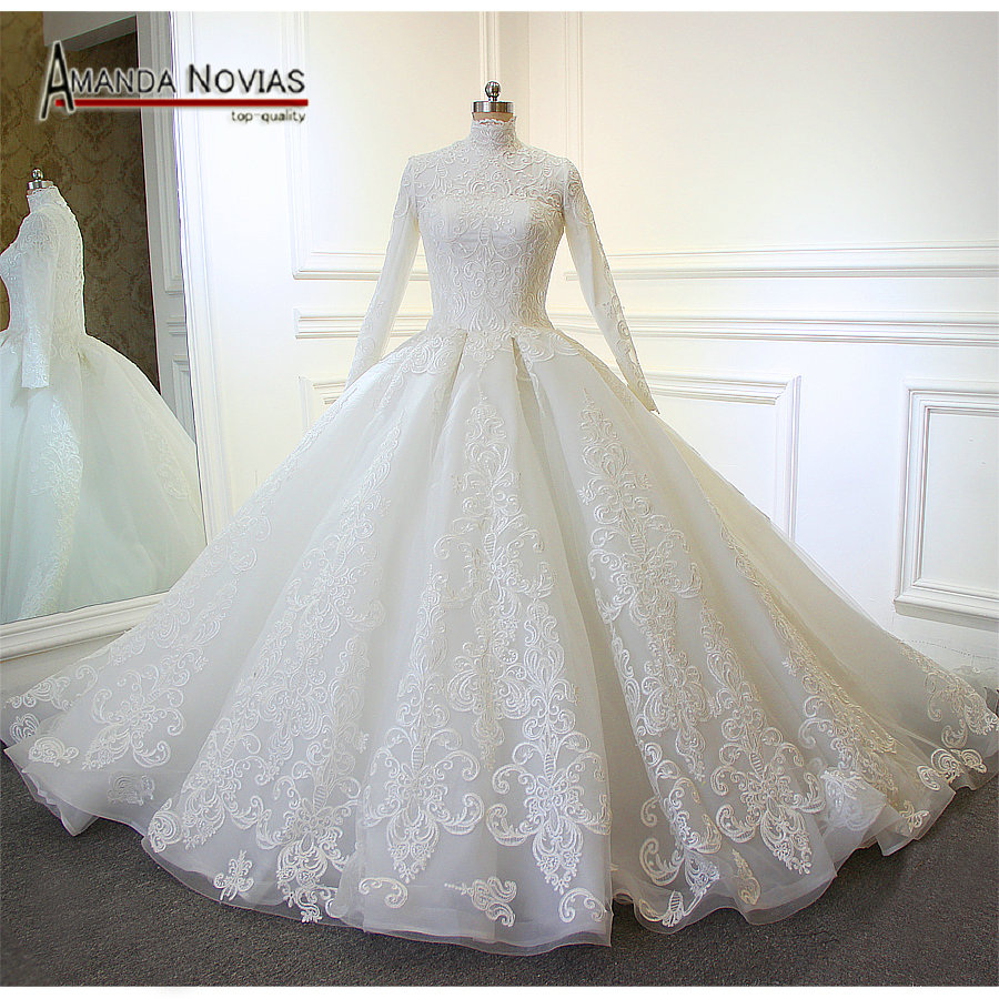 Hot sale long sleeve lace appliqued puffy ball gown for Long sleeve lace wedding dresses for sale