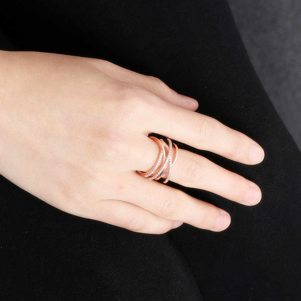 Jewelry Hollow Rose Gold Wedding Adjustable Crystal Weave Rings Silver Plated