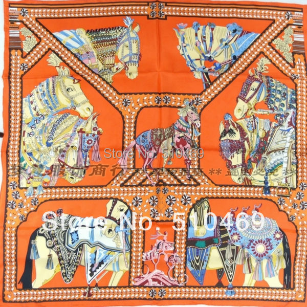 New Orange Horse 90*90cm Ladies's 100% Silk Twill Scarf Wraps New Style Square Mulberry Silk Scarf Printed For Autumn