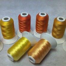 Simthread золото/желтый полиэстер нить для машинного вышивания для большинства вышивальных машин 500 м* 8 мини катушки, супер блеск, 120D/2