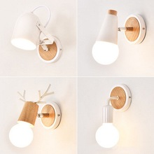 Wall Lamp Wooden Base Wall Lights Bedside Modern Led Wall Light for Bedroom Nordic Style Warm White E27 bulbs 110-220V long life diy lovely spotted dog style 25w 600lm wall decorative light lamp white 220v