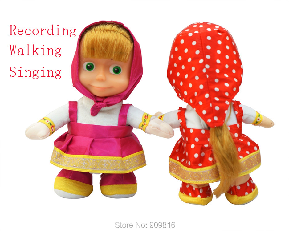 Russian Language Talking Masha Doll Cartoon Martha Marsha Musical Dolls Learning & Education Baby toys for Children Girls russian phrase book