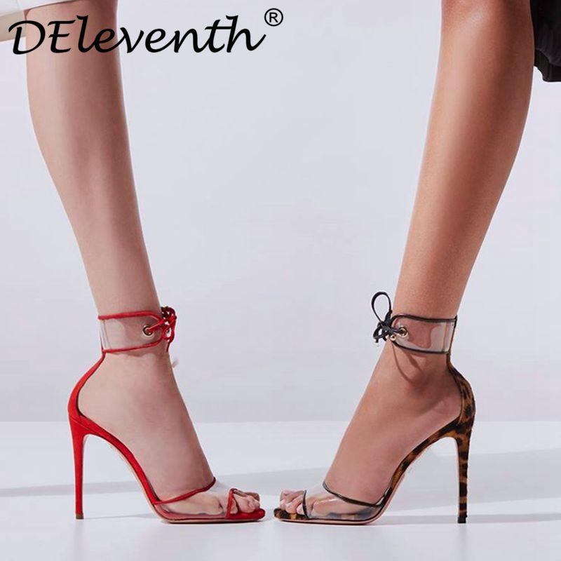 Zapatos Brown Fiesta Toe Hasta Encaje Deleventh Stilettos Sandalia O80PnXwk