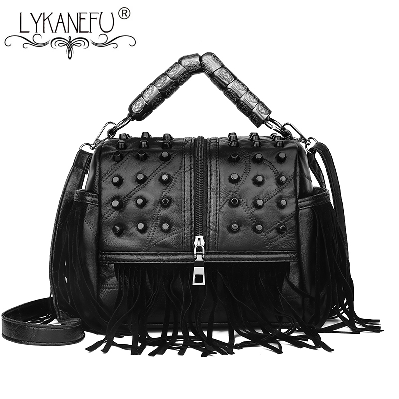LYKANEFU Punk Street Women Messenger Bags Black Rivet Tote Handbag Shoulder Bag with Long Strap Crossbody Purse Cool Bag Bolsa lydian fashion small bucket bags 2018 new handbag women messenger bag shoulder bag rivet vintage brown purse tote bolsa pequena