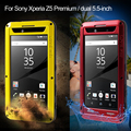 Para sony z5 premium 5.5-polegadas tampa amor mei metal + silicone + vidro temperado blindado dropproof caso para xperia z5 premium/dual