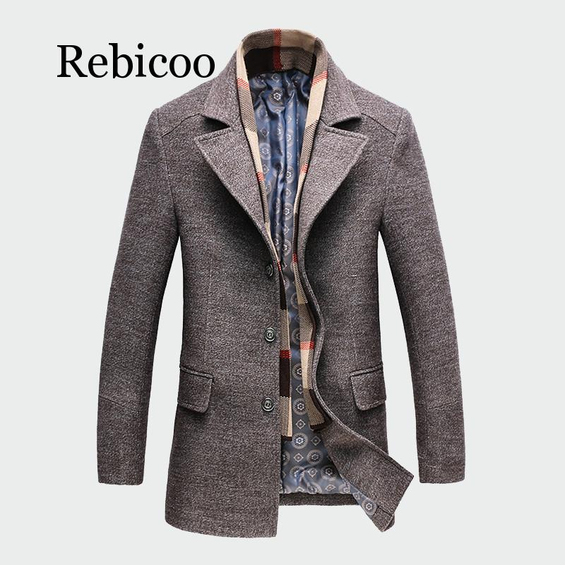2019 Winter Men Casual Wool Trench Coat Fashion Business Long Thicken Slim Overcoat Jacket Male  Clothes(China)