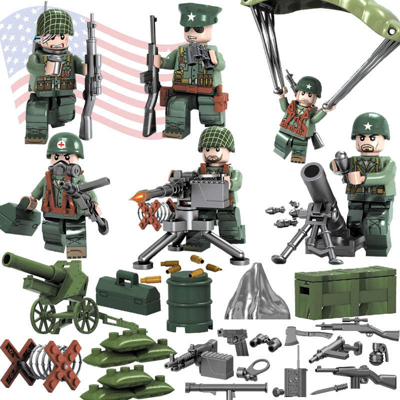 WW2 Pacific War Battle Theater of Operation Military Building Block Brick Mini USA Army Soldier Figure Compatible with Lego Toy