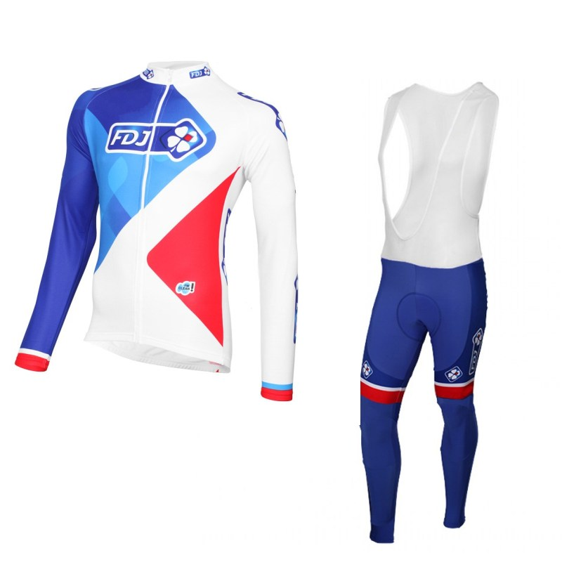 2017 france flag winter fleece Pro team fdj cycling jersey warmer maillot breathable MTB bike clothing Ropa Ciclismo GEL pad 2015 blue fdj team cycling jersey quick dry breathable cycling shirts bike shorts set gel pad cycle maillot culotte full