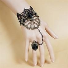 Косплей средневековый Ретро Лолита черный кружевной Готический вампирская Роза браслет с кольцом одна цепь для Хэллоуина реквизит костюм