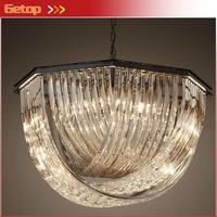 Retro American Style Loft Cross Crystal Pendant Light Villa Living Room Bedroom Luxury Pendant Lamp LED