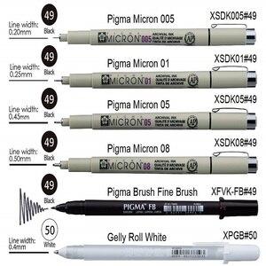 Image 2 - Sakura 6 stücke Pigma Micron Stift, Archiv Pigment Tinte Zeichnung Stifte Manga Grundlegende Set für Künstler 005,01, 05,08, FB Pinsel, Gelly roll Weiß