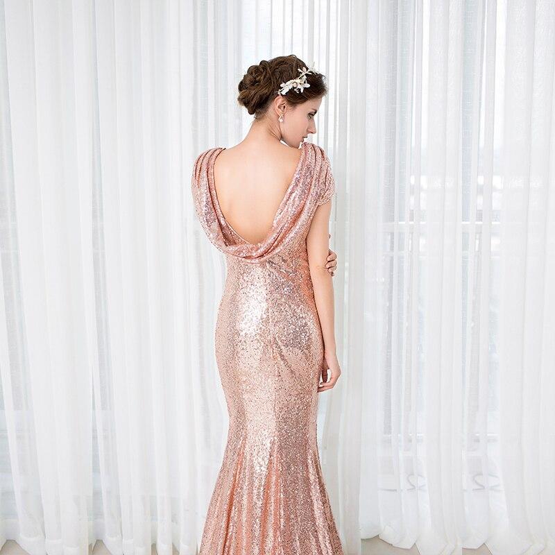 2018 Backlackgirl Elegant Rose Gold Sequins Bridesmaid Dress New ... 8ece50e2b631