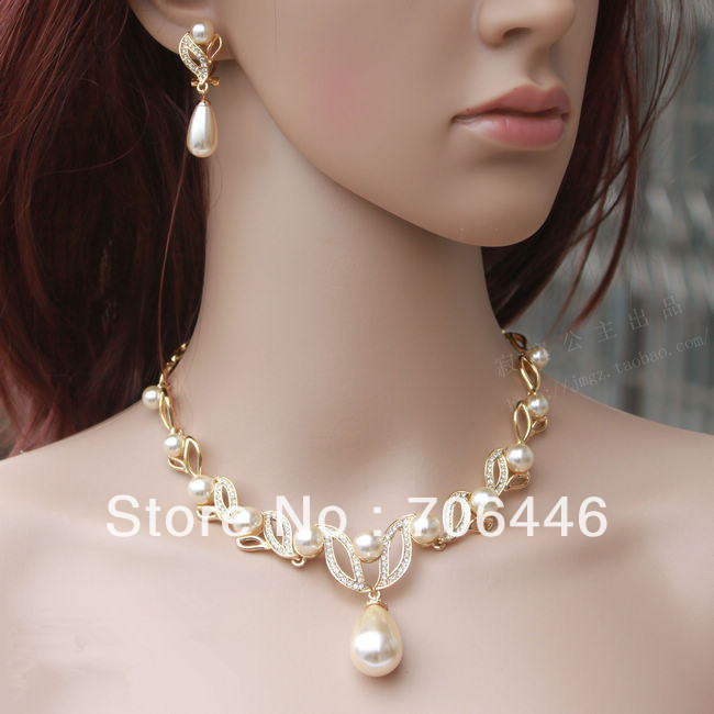Gold Tone Cream Pearl Water Drop And Rhinestone Crystal Bridal Necklace Earrings Jewelry Sets In From Accessories On