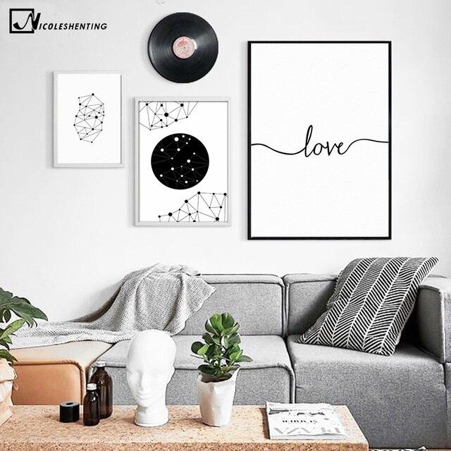 Milosc Jedna Linia Rysunek Geometria Art Plakat Na Plotnie Malarstwo